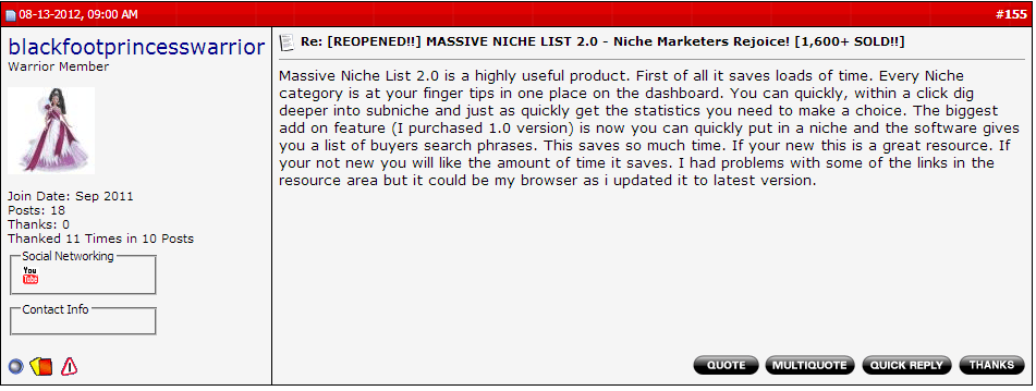 Massive Niche List Review #5