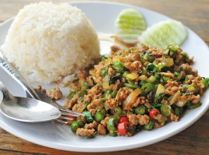 Pad Ka Pow Gai - Stir fried thai basil (ka pow) with chilli (prik) and chicken (gai)