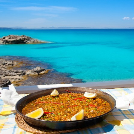 Mediterranean food - stunning beach view not included with diet.