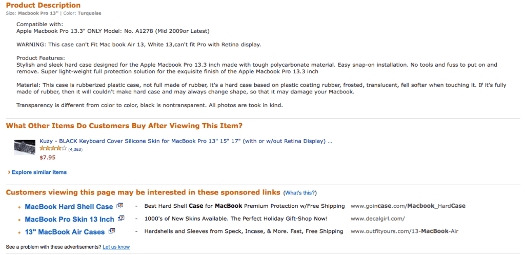 amazon product description and other links