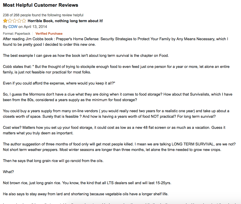 This review is only one star, but it was the very first one on the list, and the fact that almost 89% of the people who took time to read through the customer reviews found this one helpful says a lot. I didn't capture the full review in one screenshot, but here's the emotionally-charged keywords I got from it (most of which appeared multiple times throughout the review: long term survival, stockpile, food storage, grow new crops, long grain rice, raising and growing food, preparedness, Ragnar Benson, and homesteading.