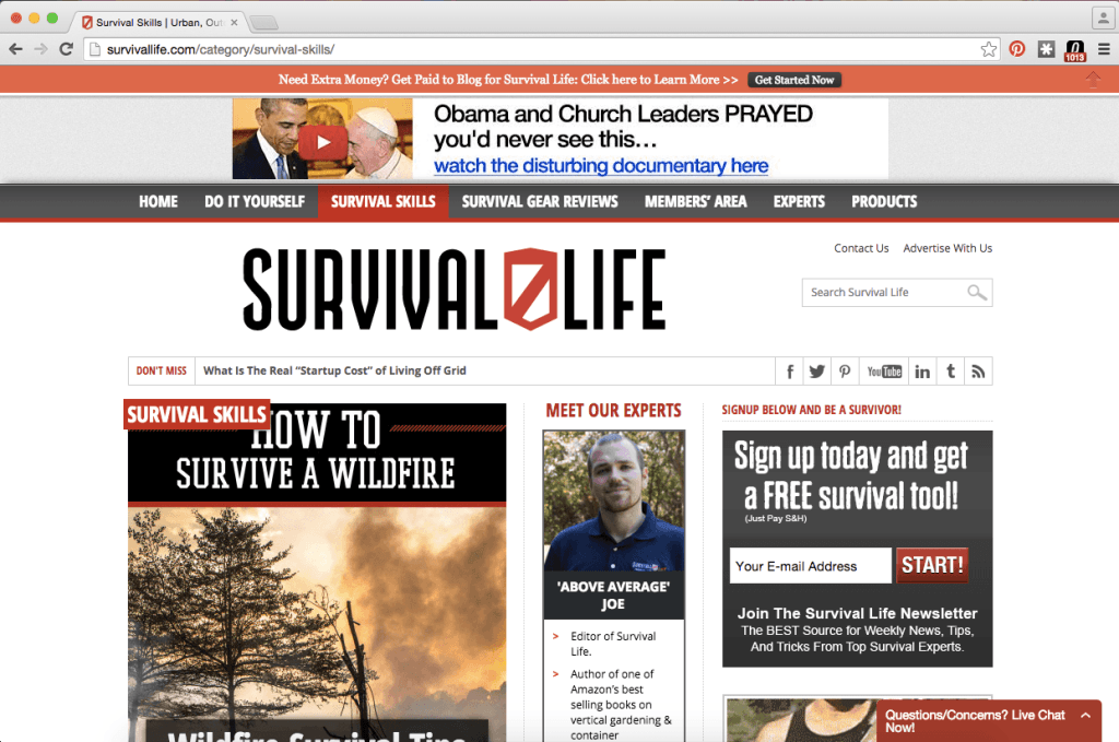 "Here's the ""Survival Skills"" page on SurvivalLife.com before I apply the Chrome trick."