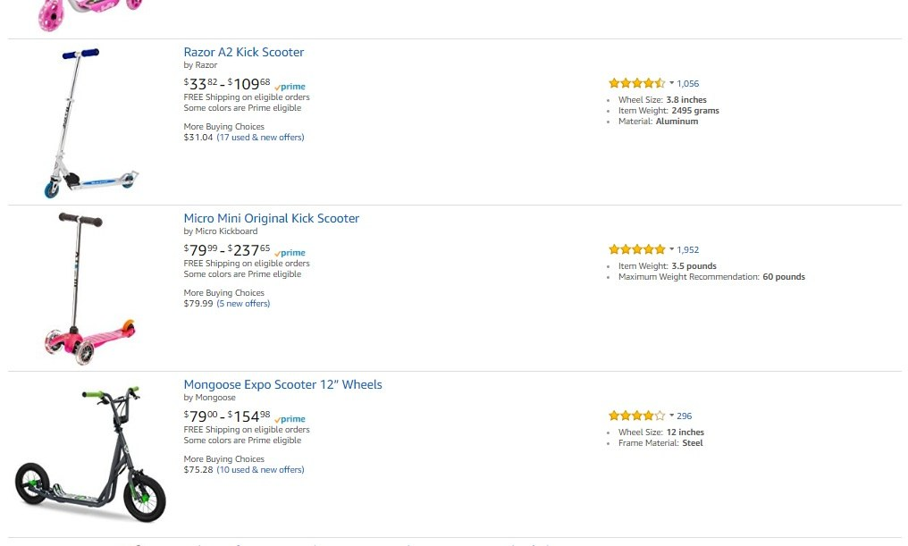 Micro Scooter discover 224 red hot products you can make money from amazon with  at webbmarketing.co