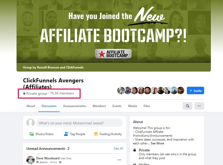 clickfunnels affiliate bootcamp facebook group1