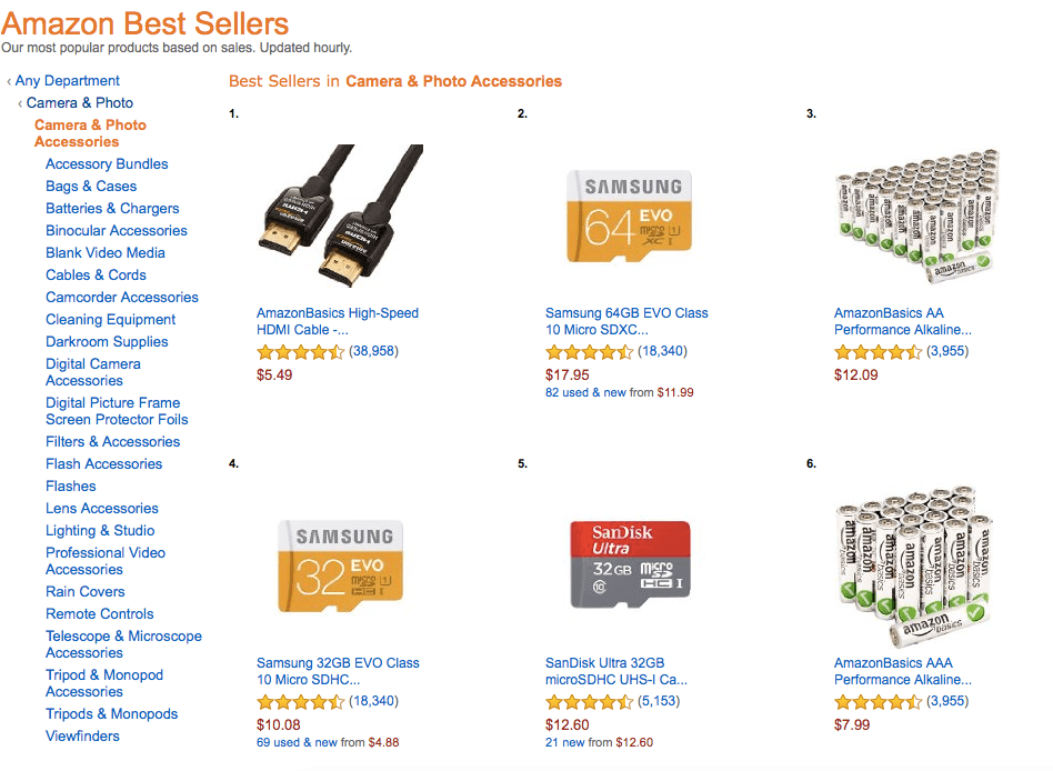 overview of subcategories on Amazon Best Sellers