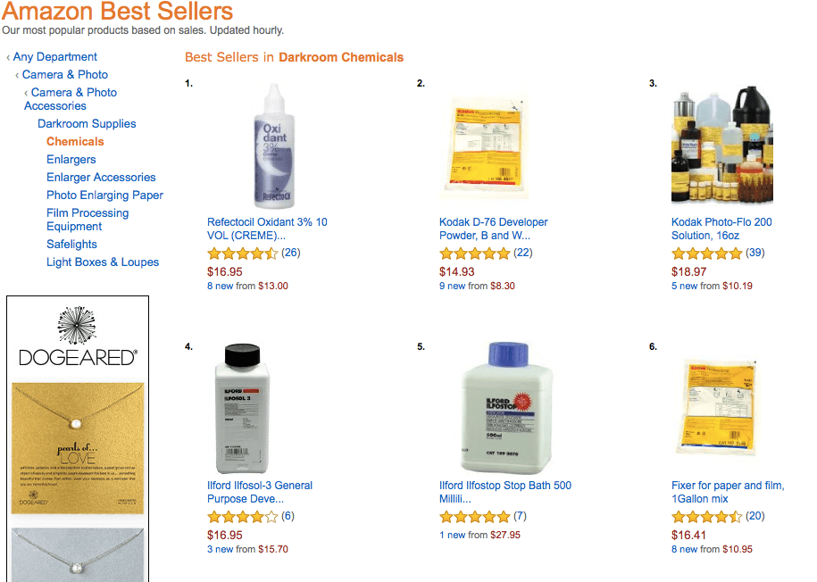 chemical subcategories in Amazon Best Sellers