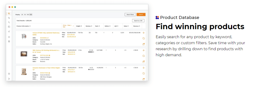 find high demand products with Jungle Scout product database