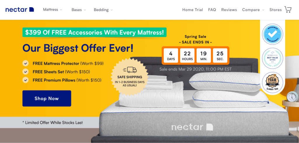 good landing page example from Nectar