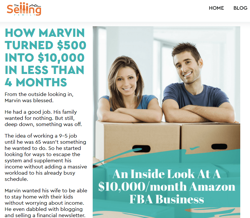 Marvin and his $10,000/month Amazon FBA Business