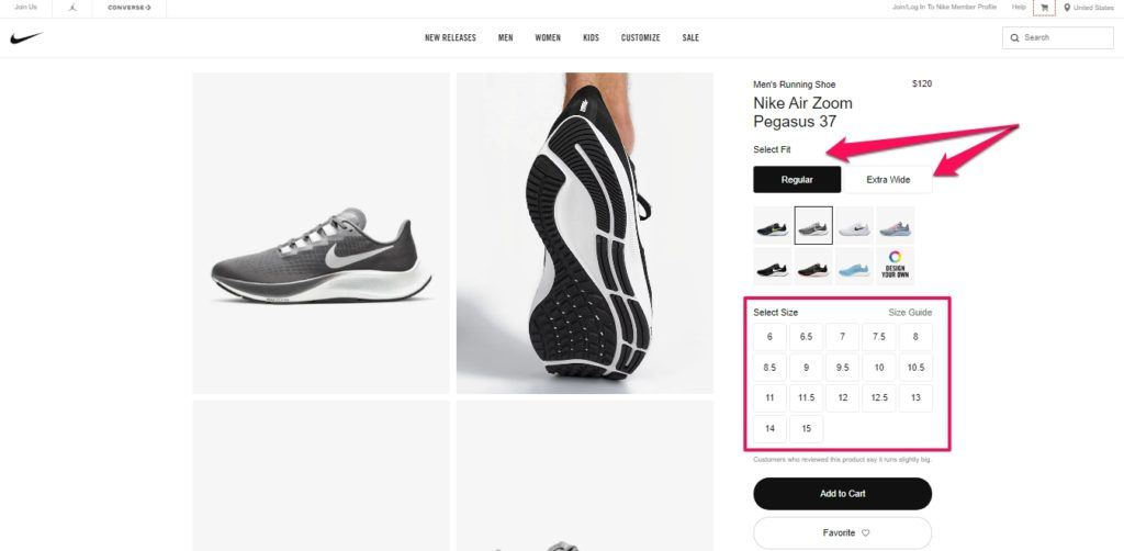 example of the product page