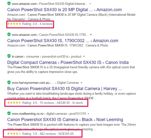 how your product pages with schema appear in search results