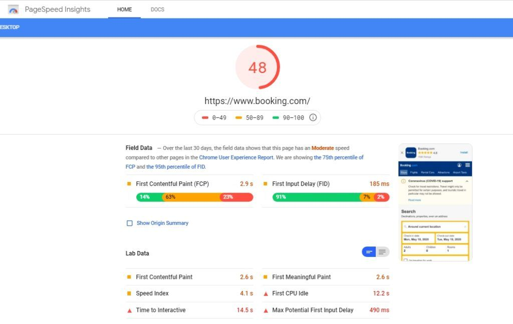 Google PageSpeed Insights result sample page